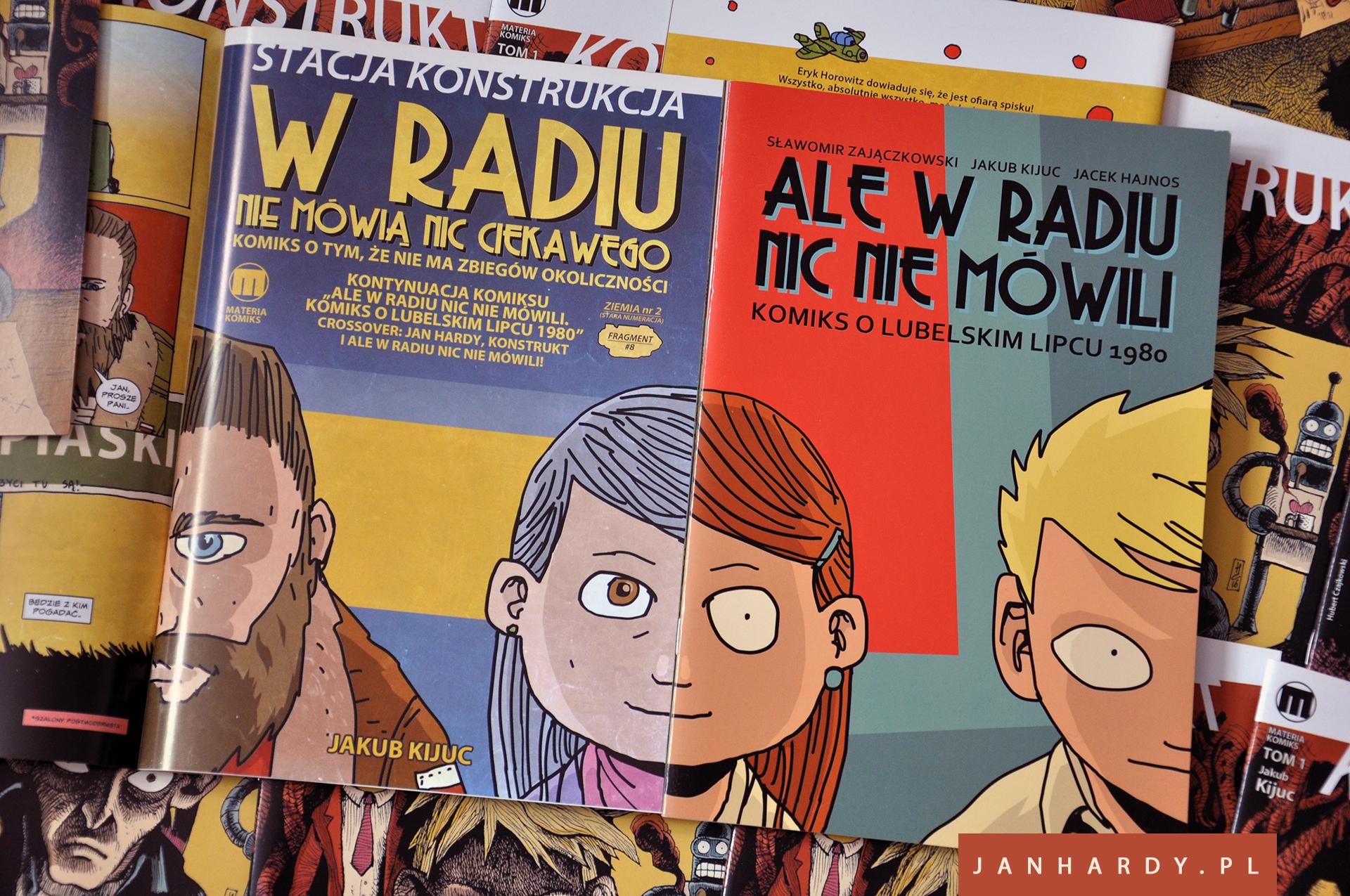 """Jan Hardy w komiksie """"W Radiu Nie Mówią Nic Ciekawego"""", który wchodzi w skład pierwszego papierowego wydania komiksu Konstrukt #2"""